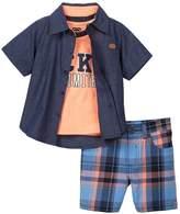 Ecko Unlimited Button Down Shirt, Tee, & Short 3-Piece Set (Little Boys)