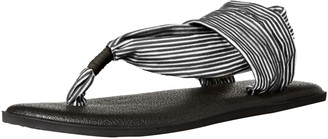 Sanuk Girl's Yoga Sling Girls (Little Kid/Big Kid) Black/White Stripes 6-7 Big Kid