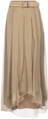 Brunello Cucinelli Belted silk organza midi skirt