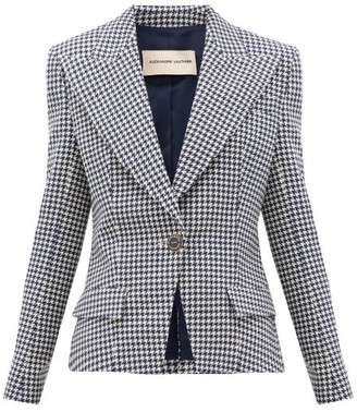 Alexandre Vauthier Houndstooth Cotton-blend Jacket - Womens - Navy White