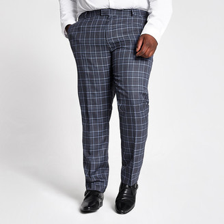 River Island Big and Tall blue check suit trousers