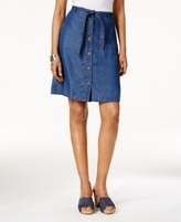 Style&Co. Style & Co Style & Co Petite Belted Button-Front Denim Skirt, Created for Macy's