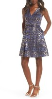 Vince Camuto Metallic Jacquard Sleeveless Fit & Flare Dress