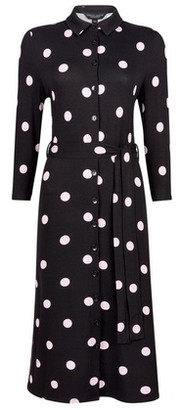 Dorothy Perkins Womens Black Spot Print Midi Shirt Dress, Black