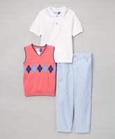 Good Lad Coral Sweater Polo Shirt & Seersucker Pant Set - Infant & Boys