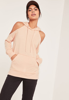 Missguided Nude Cold Shoulder Hoodie