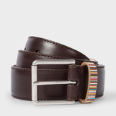 Paul Smith Men's Brown Leather Belt With Signature Stripe Keeper