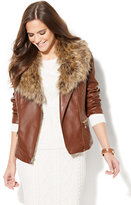 New York & Co. Quilted Faux-Leather Moto Jacket - Removable Faux-Fur