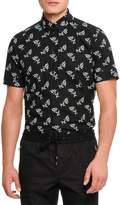 Dolce & Gabbana Floral-Print Short-Sleeve Cotton Shirt, Black