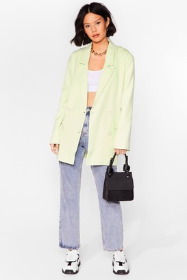 Nasty Gal Womens Working It Out Double Breasted Longline Blazer - Green - 6, Green