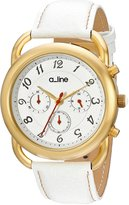A Line a_Line Women's AL-80012-YG-02-WH Maya Chronograph Dial White Leather Watch