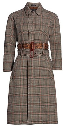 R 13 Plaid Dual-Belted Trench Coat