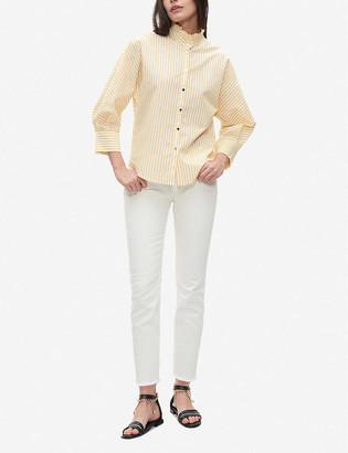 Claudie Pierlot Ruffle-trim striped cotton shirt