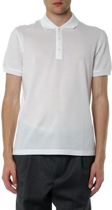 Salvatore Ferragamo White Cotton Logo Polo Shirt