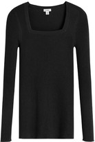 Cotton Cashmere Square Neck Rib Sweater