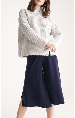 Paisie Funnel Neck Chunky Knit Jumper with Wide Ribs in Off White Marl