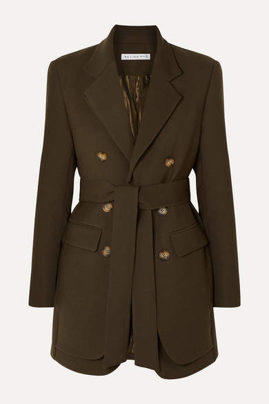 REJINA PYO Elliot Belted Double-breasted Layered Wool-blend Twill Blazer - Army green