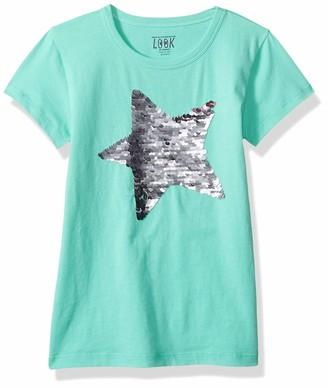 Look by crewcuts Girls' Short Sleeve Flip Sequin Tee