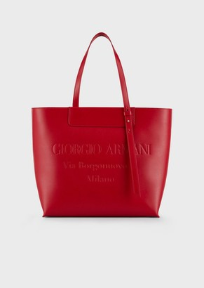 Giorgio Armani Shopper In Leather With Tone-On-Tone Embossed Logo