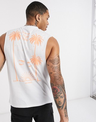 ASOS DESIGN relaxed sleeveless t-shirt with back palm puff print in white