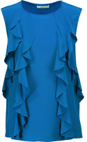 Bailey 44 Mabel Ruffled Silk-Satin And Stretch-Jersey Top