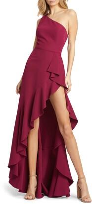 Mac Duggal One-Shoulder Ruffle Gown