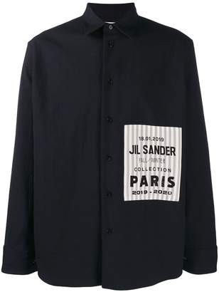 Jil Sander striped logo patch shirt