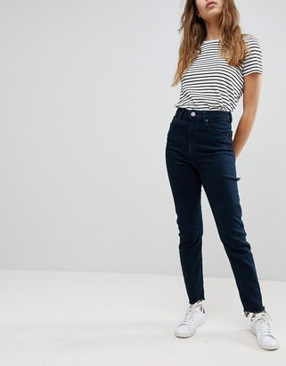 Asos Design DESIGN Farleigh high waist slim mom jeans in akila blackend blue wash with bum rips