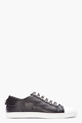 Neil Barrett Black studded and perforated leather sneakers
