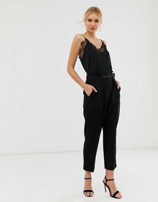 Closet London paper bag waist pants with belt detail in black