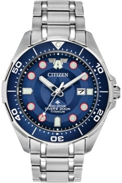 Citizen Marvel by Eco-Drive Men's Promaster The First Avenger Silver-Tone Titanium Bracelet Watch 44mm- A Limited Edition