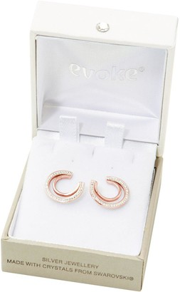 Evoke Rose Gold Plated Sterling Silver Clear Swarovski Crystals Double Crescent Stud Earrings
