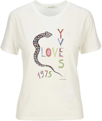 Saint Laurent Love 1975 Snake Print T-shirt
