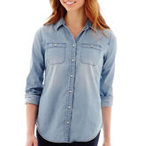 JCPenney STYLUS Stylus Long-Sleeve Boyfriend Denim Shirt