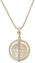ABS by Allen Schwartz Gold-Tone Faceted Ball and Crystal Pavé Pendant Necklace