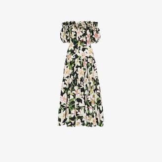 Dolce & Gabbana floral print bardot maxi dess