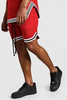 boohoo Mens Red Airtex Basketball Shorts With Tape, Red