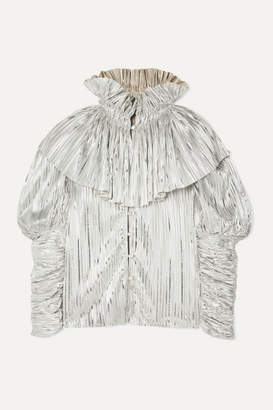 Rodarte Ruffled Pleated Lame Blouse - Silver