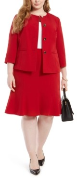 Le Suit Plus Size Crewneck Flare-Hem Skirt Suit
