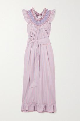 Loretta Caponi Delfina Belted Ruffled Smocked Striped Cotton-poplin Midi Dress