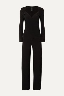 Norma Kamali Wrap-effect Stretch-jersey Jumpsuit - Black