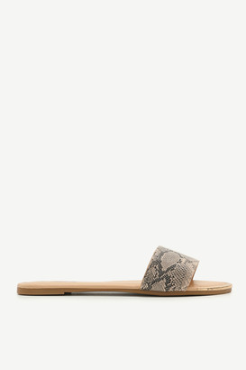 Ardene Faux Leather Snakeskin Slides