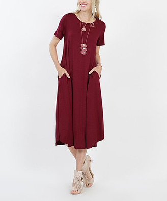 Lydiane Women's Casual Dresses DK.BURGUNDY - Dark Burgundy Crewneck Short-Sleeve Pocket Midi Dress - Women