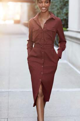 Next Womens Berry Midi Shirt Dress - Red