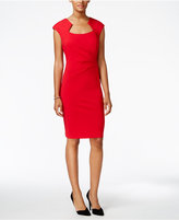 Connected Square-Neck Ruched Sheath Dress