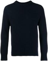 Thom Browne Navy Intarsia Stripe crew neck Pullover