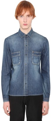 Saint Laurent Cotton Denim Shirt W/pockets