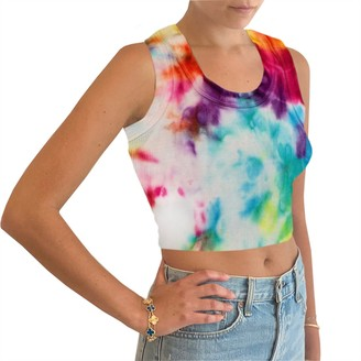 Steve Madden Racerback Cropped Tank Top Rainbow Multi
