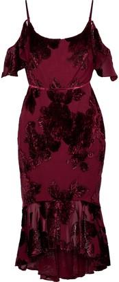 Marchesa Cold-shoulder Ruffle-trimmed Devore-chiffon Dress