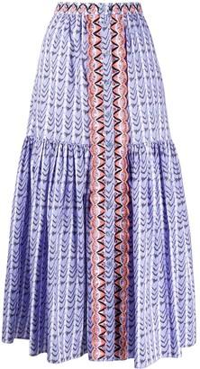 Temperley London Striped Midi Skirt